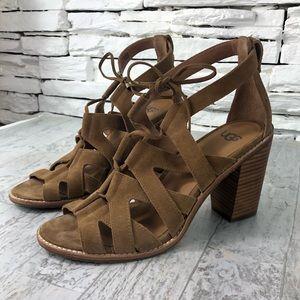 UGG Harris Gladiator Sandal Tan Stacked Heel